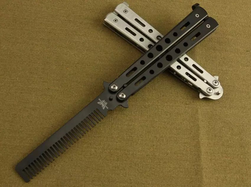 Stainless Steel Butterfly Comb for Training Practice Balisong Butterfly Comb Knives Trainer